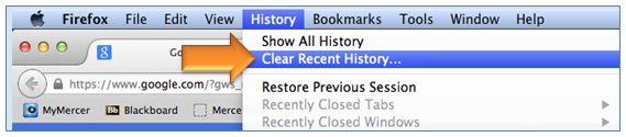 Tools > Clear Recent History
